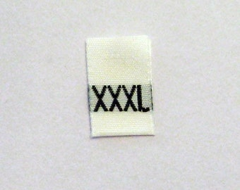 Size XXXL (3XL) Extra Extra Extra Large Woven Clothing Size Tags (Package of 50)
