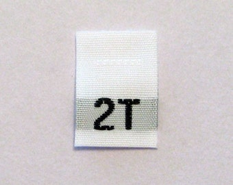 Size 2T (2 Toddler) Woven Clothing Size Tags (Package of 100)