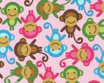 One (1) Yard - Monkeys on Pink Urban Zoologie AAK-11505-192 Spring