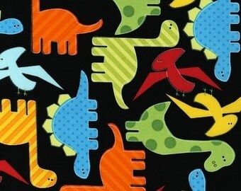 Two (2) Yards - Multi Color Dinosaurs on Black Urban Zoologie AAK-11506-195 Bright