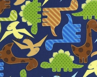 Two (2) Yards - Multi Color Dinosaurs on Navy Blue Urban Zoologie AAK-11506-9 Navy