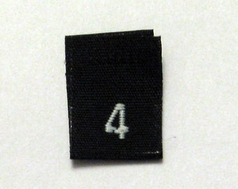Size 4 (Four) BLACK- Woven Clothing Size Tags (Package of 50)