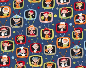 Fat Quarter- When I Grow Up Retro Kids on TV Cotton Fabric Michael Miller CX5285-Denim