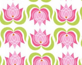 Fat Quarter - Modern Pink Lotus Flower on white Michael Miller Fabrics DC5397-Pink