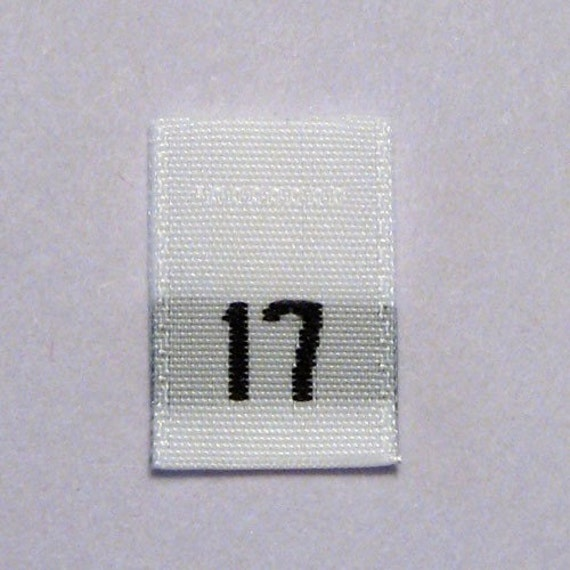 Size 17 (Seventeen) Woven Clothing Size Tags (Package of 50)