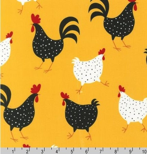 Three (3) Yards - Yellow Chicken Metro Market Fabric Robert Kaufman AEK-11219-5 Yellow