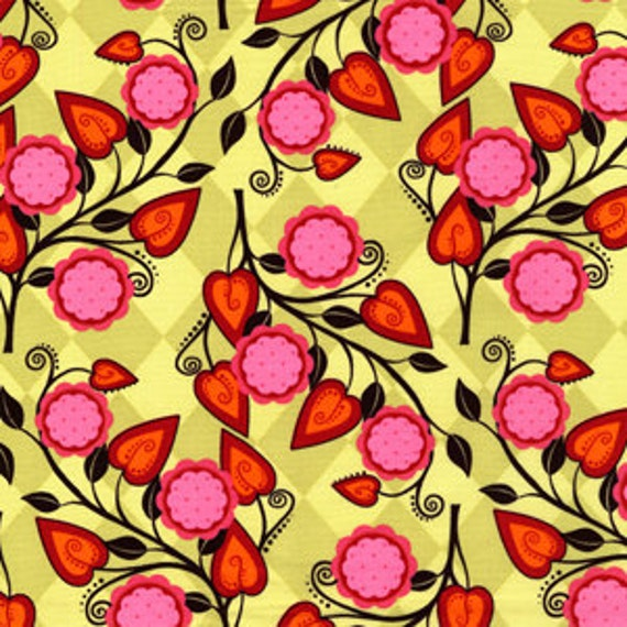 Remnant- One (1) Yard - Flowery Stripe AndaLucia Patty Young By Michael Miller 3902-Kiwi
