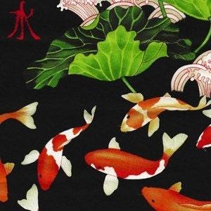 Fat quarter koi lotus asian black pond fish fabric by for Koi fish pond lotus