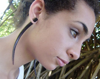 Fake Gauges Earrings, Tribal Style, Expander Split earrings,wood earrings,organic,hand made,XXL