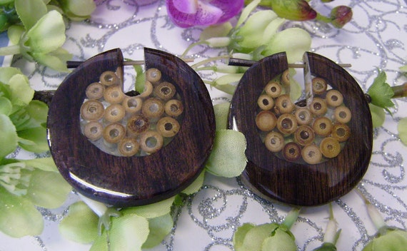 Fake Gauge Organic ,Stick, Wood ,Earrings ,  tribal style ,hand carved,naturally,fake piercing