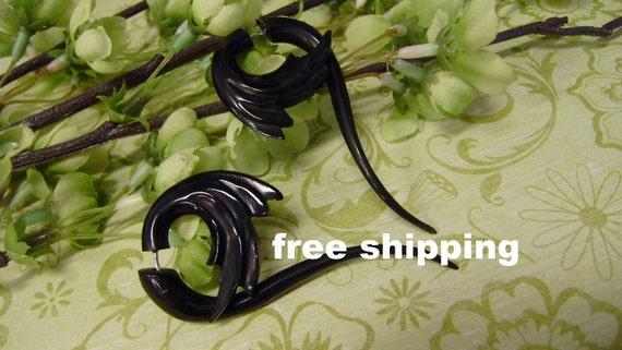 Fake gauge  Organic Black Horn Split Gauge Sprial  Earrings Fancy Tribal Anela's