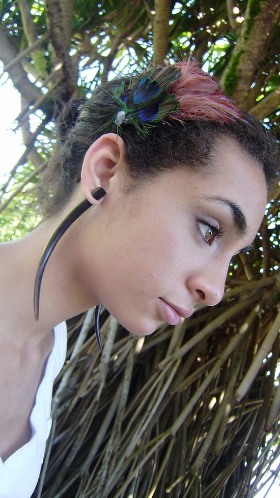 Fake Gauges Earrings, Tribal Style, Expander Split earrings,wood earrings,organic,hand made,XXL