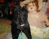 Charming antique 1920s stuffed scotty dog terrier black with collar