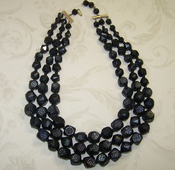 Vintage 3 Strand Bead and Necklace, Germany