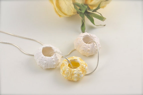 White and Yellow Urchin Pendant