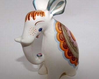 Mid Century Russian Majolica Ceramic  Elephant