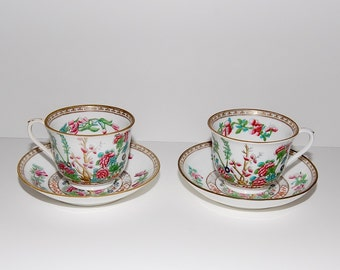 Antique  Indian Tree of Life Cup & Saucer Set , Pair