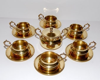 Hollywood Regency Brass Espresso Latte Coffee Set
