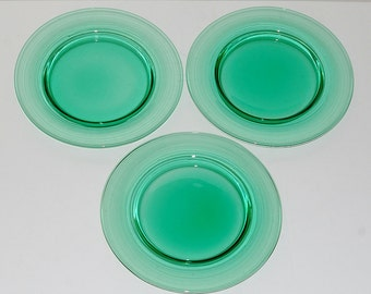 Vintage Steuben Pomona Green Glass Salad Plates, Set of 3