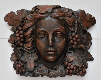 Architectural Salvage Sculpture Corbel Head of Bacchante, Cast Plaster