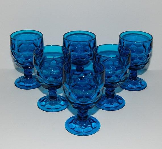 Viking Georgian Pattern Bluenique  Water Goblets Glasses, Set of 6