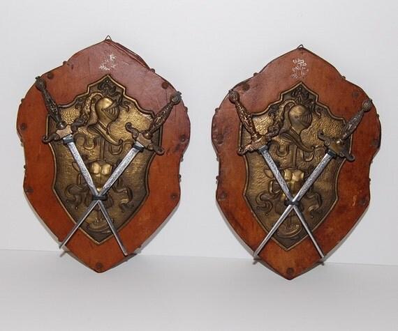 Vintage Medieval Heraldic Crests, Heraldry Shield Knight Armor Swords Wall Décor Plaque