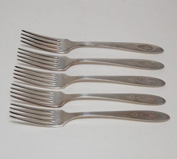 Art Deco Dinner Forks Bird of Paradise by Community (Oneida), Set of 5, circa 1923