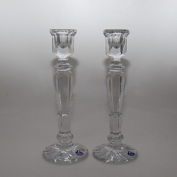 Russian Lead Crystal Tulip Candlestick Holders, Pair