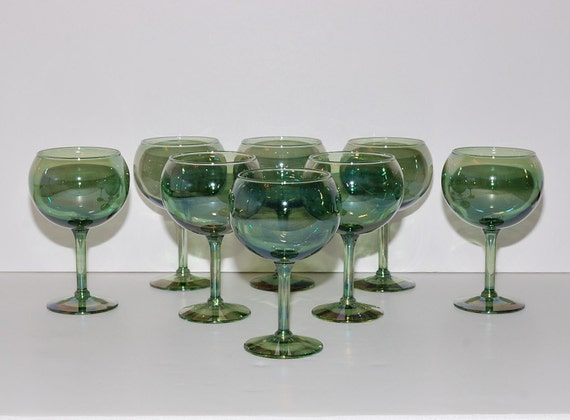 RESERVED for Anne Vintage Iridescent Luster Green Glass Balloon Wine Goblets, Set of 8