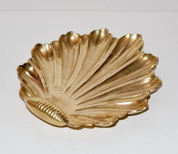 Hollywood Regency Style Solid Brass  Shell Formed Bowl