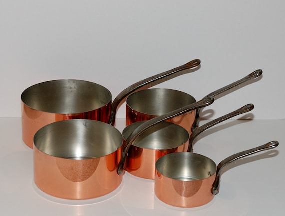 Vintage french graduated copper cookware set of 5 for Art and cuisine cookware