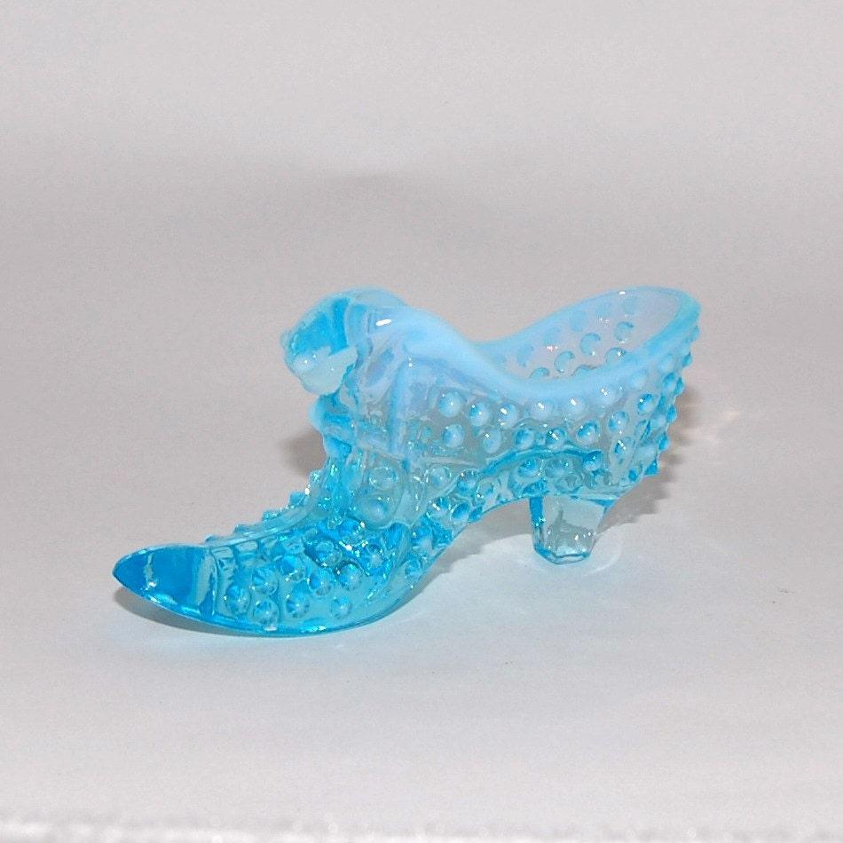 Fenton Art Glass Blue Opalescent Hobnail Shoe Slipper