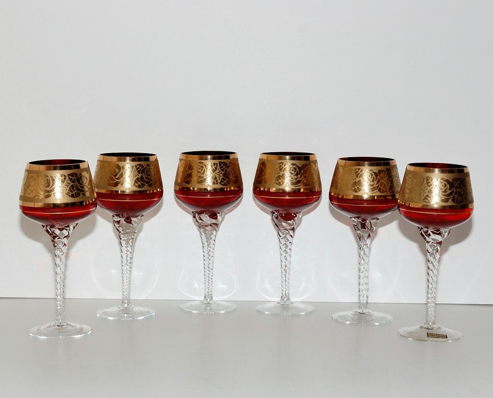 Vintage Bohemian Ruby Red Glass Wine Goblets Circa 1950s