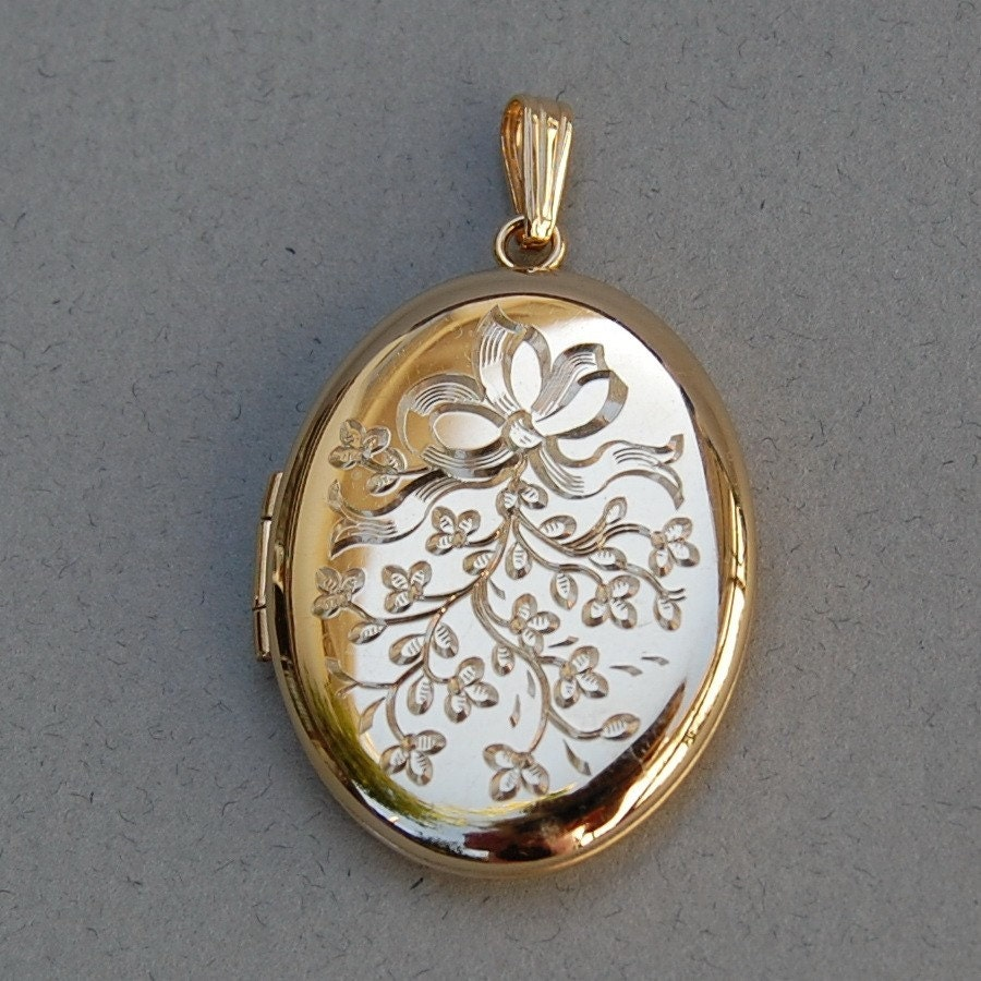 B A Ballou Gold Overlay Locket With Engraved Ribbon And