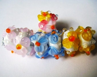 SALE, Set of Six Floral Lampwork Beads-Plus Free Focal