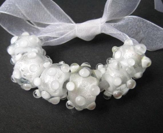 CLEARANCE Set of 6 Handmade Dichroic Lampwork Glass Beads,