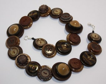 Chocolate Brown and Caramel button necklace Button Jewellery Button Jewelry UK Handmade