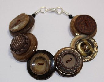 Chocolate Brown and Caramel button bracelet Button Jewellery Button Jewelry UK Handmade