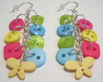 Summer - Lime Green, Hot Pink, Yellow and Aqua button sterling silver drop/dangle earrings