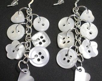 Pearlescent button sterling silver drop/dangle earrings