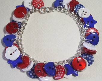 Summer - Red, White and Blue button charm bracelet