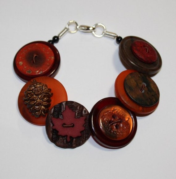 Autumn/Fall - Cherry red, brown and burnt orange button bracelet