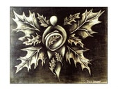 Leaf-Winged Goddess, greeting card set of 5, goddess art, oak leaf art