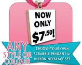 PICK ANY 1 scrabble pendant and ANY 1 color voile ribbon - COMBO DEAL