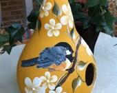 Painted Gourd Birdhouse Handpainted Chickadee And Beautiful Flowers