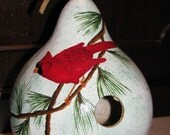 Painted Gourd Birdhouse  Handpainted  Cardinal Perched On Pine Bough ReMaRkaBle