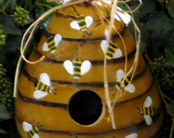 Homegrown Gourd Designed Into Beehive Birdhouse.Attention To Detail Made To Order