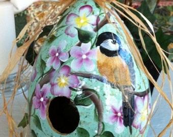 Exceptional Handpainted Gourd Birdhouse