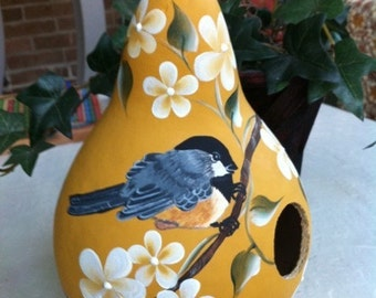 Painted Gourd Birdhouse Handpainted Chickadee And Beautiful Flowers