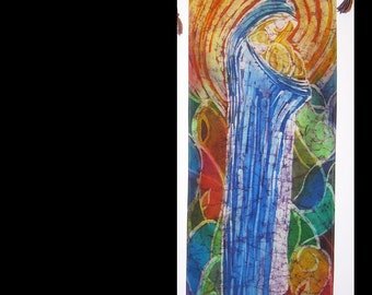 "Wall Hanging silk batik "" Mother and baby"""